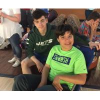 Alex Dunay and Mitchell Bohrer enjoy a bowling event.