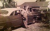 Grandfather Joseph Tarlowski in La Grange, circa 1940, proudly wearing his shriners hat.