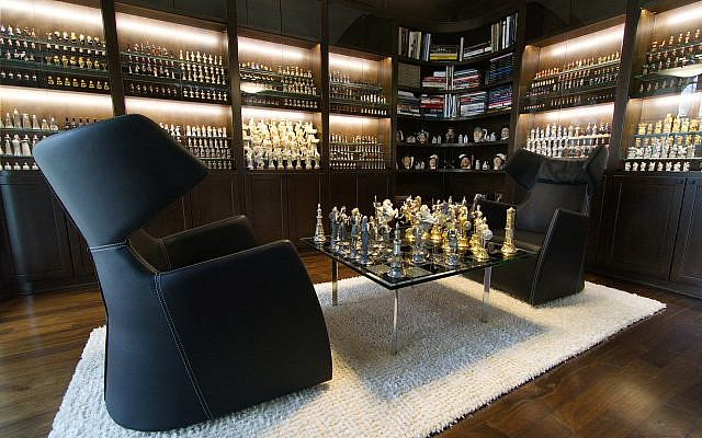 Adler's Houston's home has a room dedicated to his vast collection of chess sets.