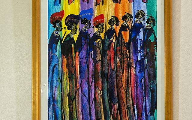 Five original abstract, representational acrylics of Namibia Himba tribe's people in traditional garb at tribal ceremonies line Nadia's stairs, were acquired at a pedestrian mall in South Africa.