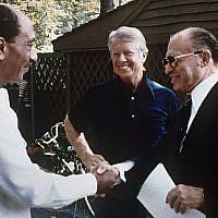Israeli Prime Minister Menachem Begin, right, Egyptian President Anwar Sadat, left, and President Jimmy Carter at Camp David in September 1978.