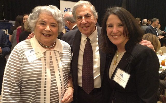 Advocate level sponsors Elaine and Miles Alexander are welcomed by ADL Regional Director Allison Padilla Goodman.