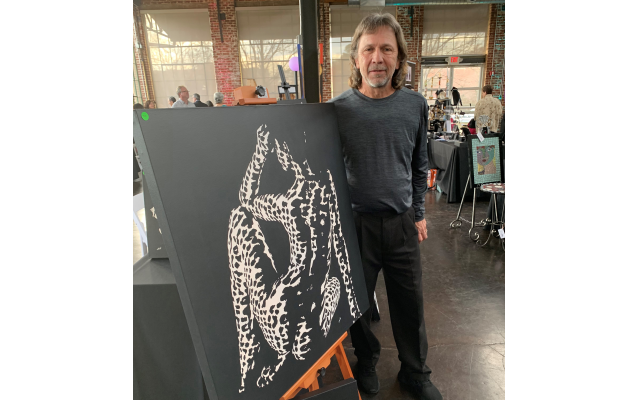 Artist Steven White sold his black oils on canvass to benefit breast cancer research.