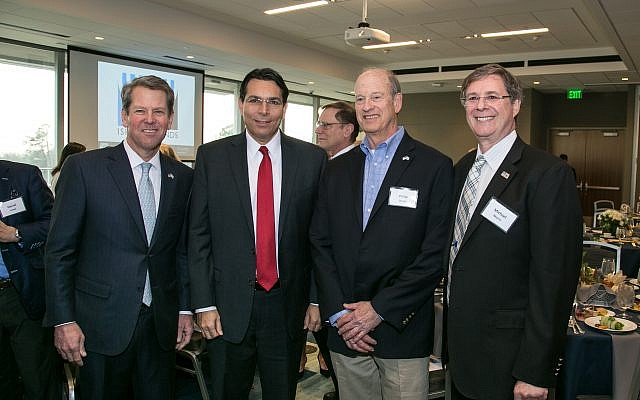 From left: Governor Brian Kemp, Israel's U.N. Ambassador Danny Danon, Philip Jacoby and Michael Morris.