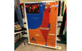 A map of the Middle East replacing Israel with Palestine is shown in a photo of the Multicultural Night at Autrey Mill Middle School posted on Jewish Moms of Atlanta Facebook group page.