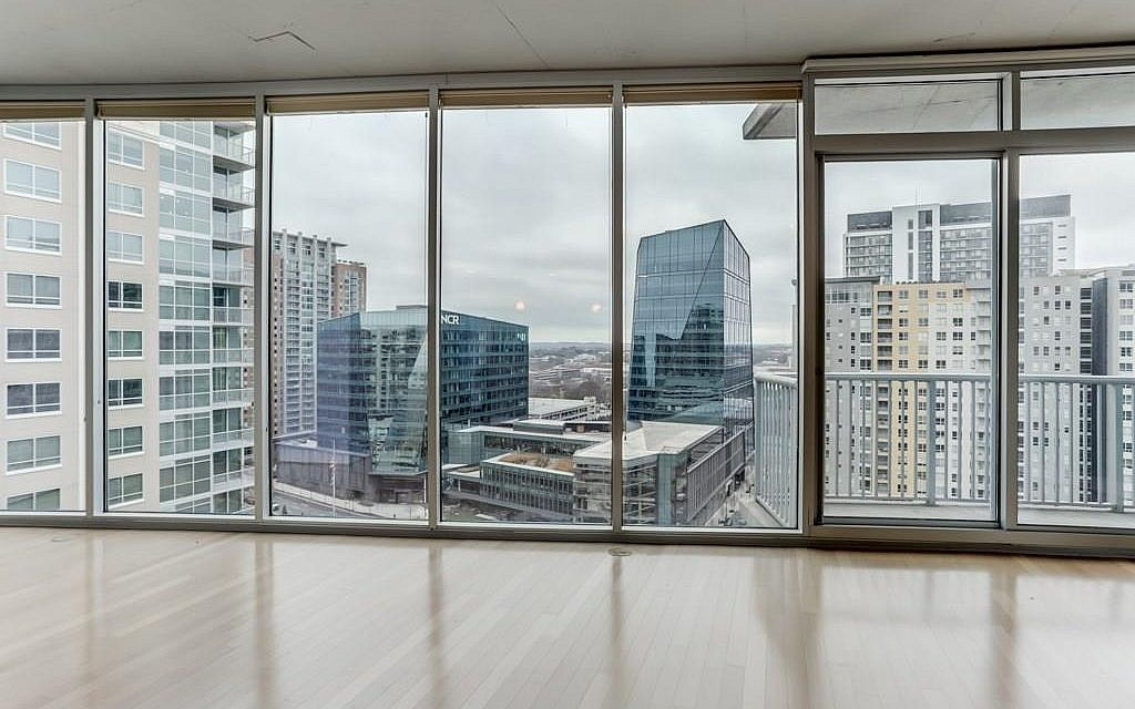 The view from within a unit at Plaza Midtown.