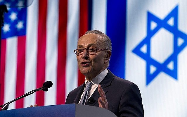 Photo via Times of Israel // Senate Minority Leader Chuck Schumer, D-N.Y. speaks at the 2019 AIPAC Conference in Washington, D.C.