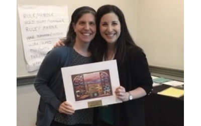 Photo courtesy of the MJCCA // Rabbi Rachel Bovitz presents award to Talya Gorsetman, recognized at an international conference for her commitment to adult Jewish education.