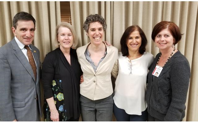 President & CEO Harley Tabak with The Jewish Tower team members (from left) Gal Fonseca, Lee Pratt, Marianna Fuller and Marla Feld.