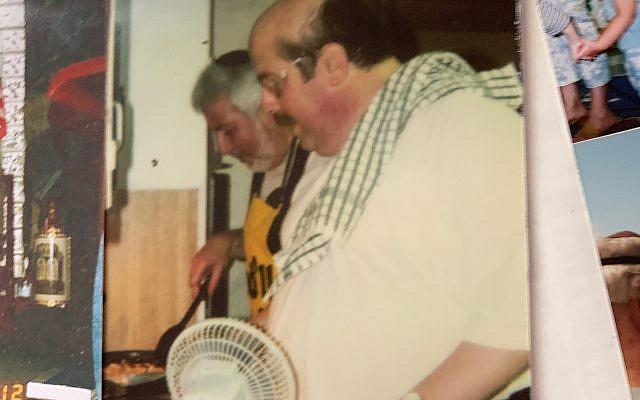 Ron Bachenheimer and Rabbi Shalom Lewis in a matzah brie cook-off.