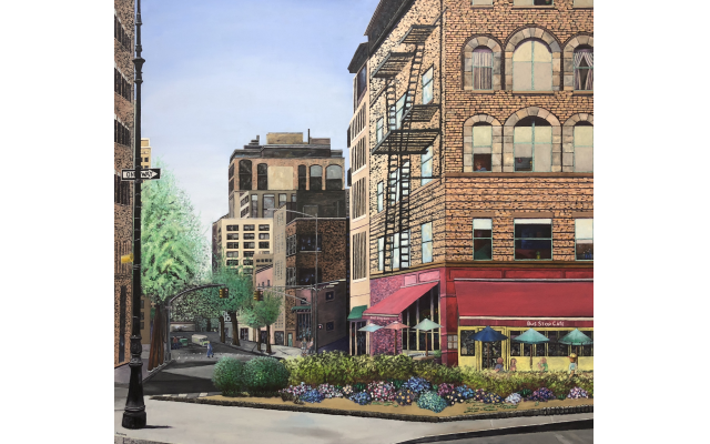 "This large piece, ""Greenwich Village Corner,"" is a commissioned work that now hangs in a Birmingham home."