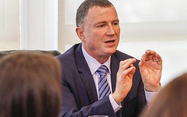 Yuli Edelstein, speaker of the Knesset and second in command under Prime Minister Benjamin Netanyahu, with journalists in his office days before the election.