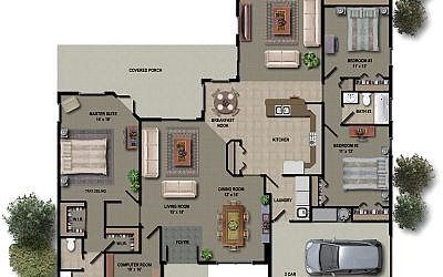As an initial step in the process, ChangingSpaces creates a floorplan that shows how the new home will be organized.