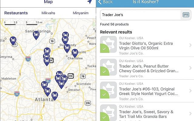 Left: Kosher GPS app showing the kosher restaurants in the Atlanta area. Right: Is It Kosher? app showing a list of kosher items sold at Trader Joe's.