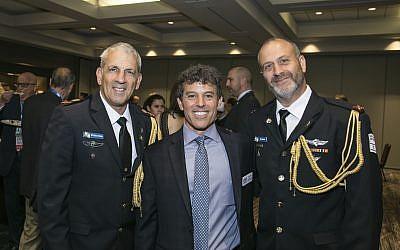 Keynote speaker Maj. Gen. Michael Edelstein with honoree Garry Sobel and Brig. Gen. Yehuda Fox.