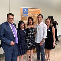 New JF&CS CEO Terri Bonoff, second from left, with her husband Matthew Knopf, far left, pose with Amy Fingerhut, event restaurant chair, her husband Kevin Blate and Robin Feldman, JF&CS vice president of resource development.