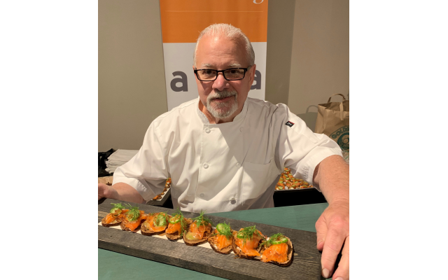 Aria's Gerry Klaskala, a loyal event chef contributor served gravlox on pumpernickel with scallions, cucumbers and dill mustard sauce.