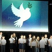"Students from The Weber School sing the song ""Peace"" during the annual community Yom Hazikaron commemoration."