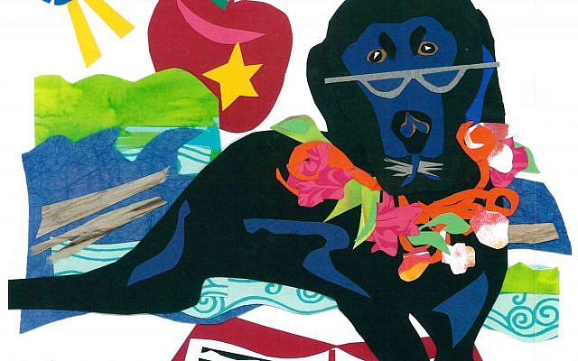 """This paper cutout collage portrait, """"Kalua,"""" incorporates symbols for a school along with an open book to show Kalua being a good listener for young children learning to read aloud.  Notice how Kalua wore various props, such as reading glasses."""