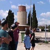 The students learn the history of the kibbutz.