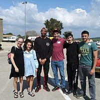 Those on the trip included, from left: Zoe Sokol, Noa Dan, Bryan White, Eitan Linsider, Gabi Gadelov and Oron Porat.