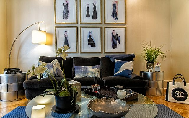 """Photos by Duane Stork // These six original sketches were done by Karl Lagerfeld for Chanel. Rickles selected couch fabric by Robert Allen """"Denim Indigo."""""""