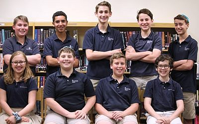 The students who qualified to take the ACT were, back row: Ryan Kardon, Dolev Brown, Owen Rosenthal, Asher Glenn and Jonah Blum. Front row: Naomi Furie, Zachary Meyerowitz, Joey Bardack and Elliott Furie.