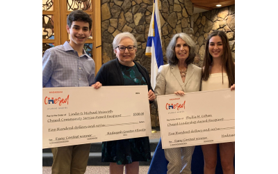 Student essay award winners with their donors were: Grant Chernau, Linda Weinroth, Phyllis M. Cohen and Jereme Weiner.