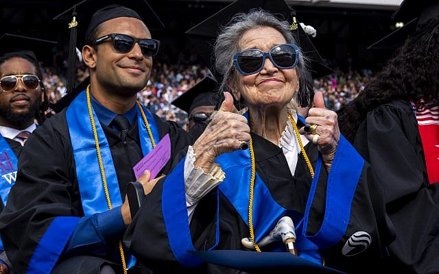 Photo by Meg Buscema // GSU graduate Joyce Lowenstein gives a thumbs-up about her recent achievement.