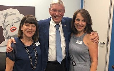 Photo by Yael Nehushtai // Selig spoke July 11 at the Marcus JCC as part of it's A Page From the Book Festival. He is pictured here, center, with Book Festival Co-Chairs Susie Hyman, left, and Deena Profis.