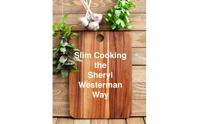 Cutting board with space for text, fresh basil and garlic on wooden background, vertical
