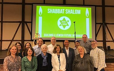 A Shabbat dinner was sponsored by the JCC Krakow during the Jewish Culture Festival, with 750 people in attendance. Third from right, top row, is Jonathan Ornstein, founding director of the JCC Krakow.