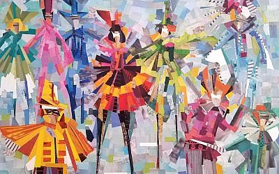 "Jeltuhin's elaborate and vibrantly colored ""Carnival"" collage shows her skill with scissors in this crafty discipline."