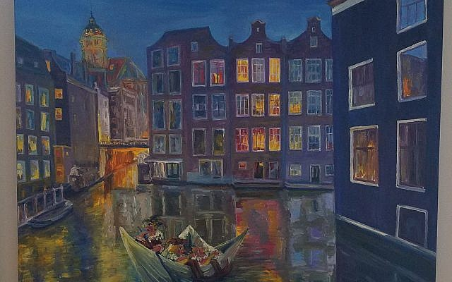 "Yulia painted this  romantic ""Midnight Sailing"" of a paper boat of puppets playing and singing on a canal in Amsterdam."