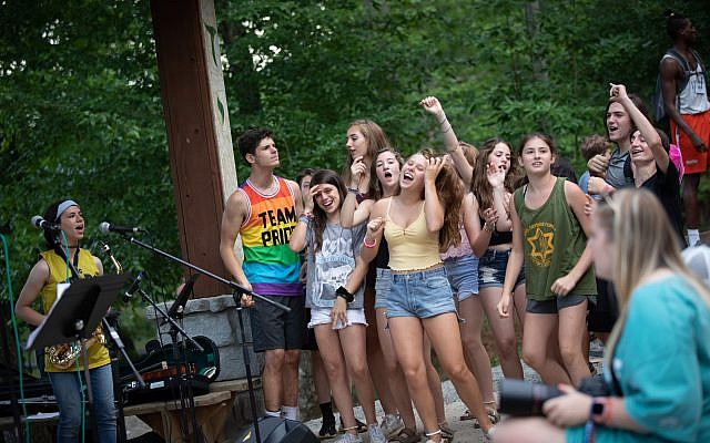 "Campers enjoy a ""Coleman Rocks"" Shabbat"