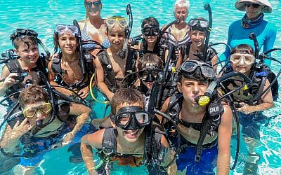 Scuba diving lessons at the Camp Barney Medintz pool.