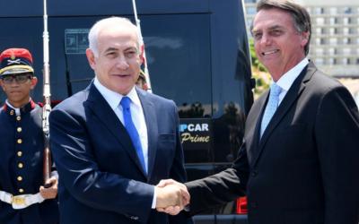 Prime Minister Benjamin Netanyahu, the first Israeli leader to visit Latin America, congratulates new Brazilian President Jair Bolsonara.