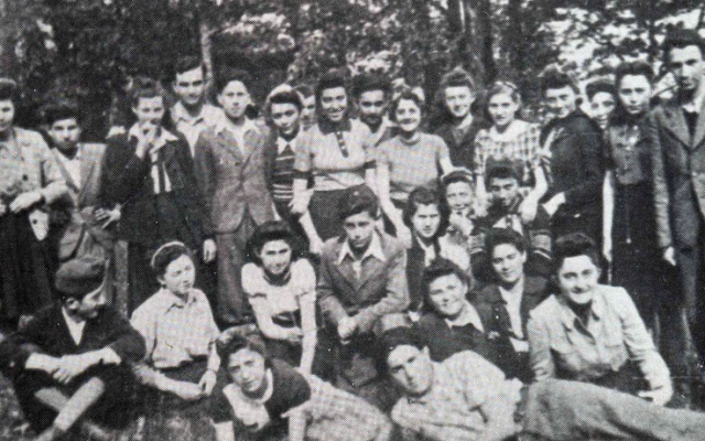 Students of the Munkacs Hebrew Gymnasium in 1941 on a holiday outing.