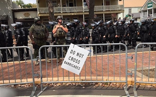 Photo by Roni Robbins // Police from throughout the region descended on downtown Dahlonega to keep the peace.