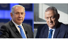 Israeli Prime Minister Benjamin Netanyahu (L) and Benny Gantz, leader of Blue and White party, Netanyahu called on his main challenger Benny Gantz on Thursday to form a unity government together as election results showed both without an obvious path to a majority coalition.