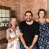 Jen and Michal with owner-chef Shay Lavi of Rozina.
