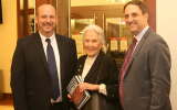 "Emory professor Eric Goldstein, left, with Janice Rothschild and James Loeffler, author of ""Rooted Cosmopolitans"" at last year's Rothschild lecture at Emory."