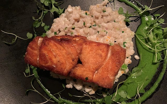 Photos by Marcia Caller Jaffe // Salmon souvlaki over pearl barley risotto and arugula coulis.