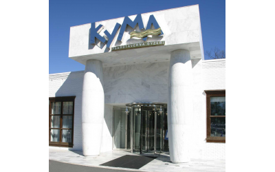 Photo courtesy of Kyma // The blue and white reception area creates the drama and romance of Santorini.
