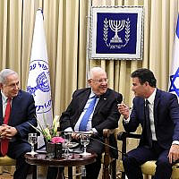 The mandate to create a coalition government is in Benjamin Netanyahu's hands, but could return to President Reuven Rivlin's court.   Pictured: Netanyahu, Rivlin and Yossi Cohen.