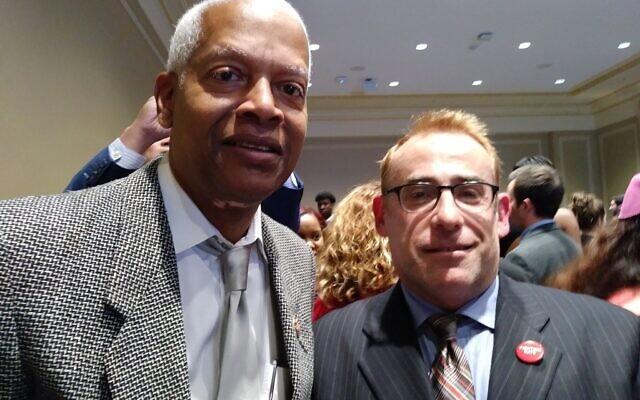 Rep. Hank Johnson with Rabbi Joshua Lesser of Congregation Bet Haverim.