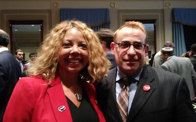 Rep. Lucy McBath with Rabbi Joshua Lesser of Congregation Bet Haverim.