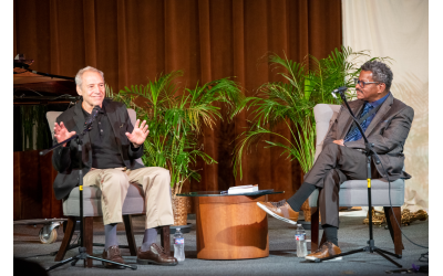 Photos by Jasper Fu //  Ben Sidran and Rev. Dwight Andrews discussed American music before a racially and religiously diverse audience.