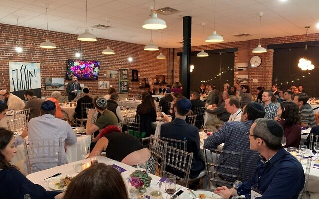 The lower level of Intown Chabad hosted a full 110 for the Babbit presentation.