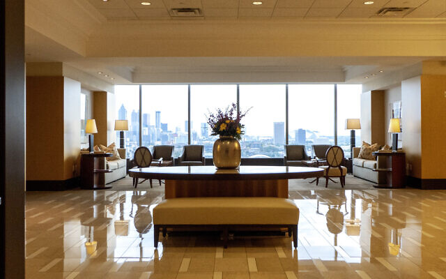 Photos by Duane Stork // A breathtaking view of the AGG lobby shows the expanse of Midtown and the construction underway.